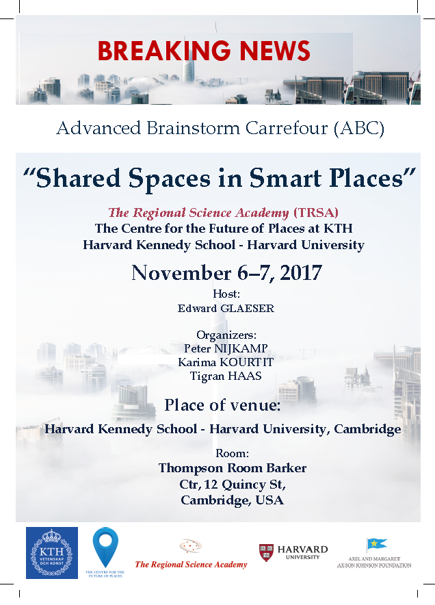 Announcement Regional Science Academy Meeting at Harvard University in Boston November 6 and 7 2017