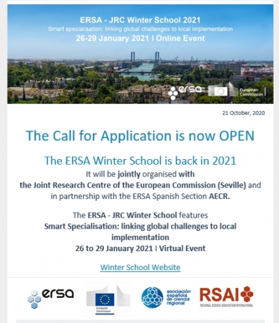 ERSA-JRC Winter School 2021 - The Call for Application is OPEN