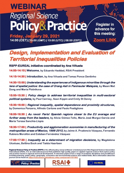 RSPP Webinar (January 29, 14:00 (CET) | Design, Implementation and Evaluation of Territorial Inequalities Policies