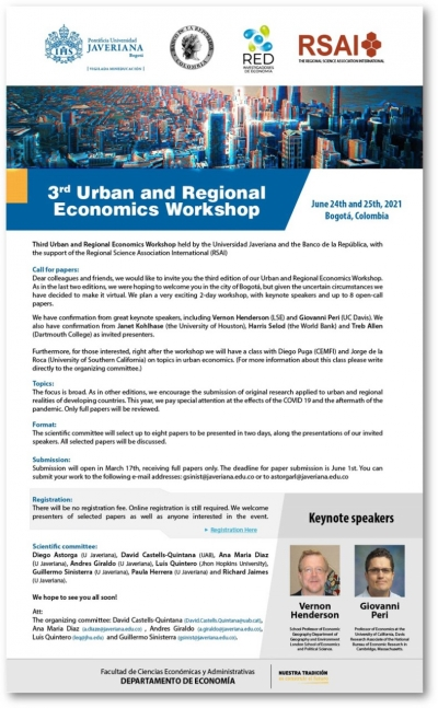 Call for Papers | 3rd Urban and Regional Economic Workshop, 24-25 June 2021, Bogotá, Colombia