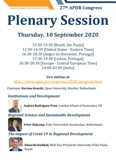 APDR2020 | Plenary Session, Thursday, 10 September 2020, live online with Andrés Rodríguez-Pose, Peter NIjkamp and Eduardo Haddad