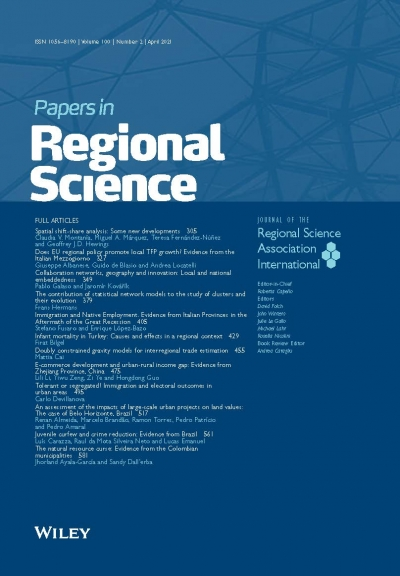 The latest issue of Papers in Regional Science is available! Volume 100, 2 (April 2021)