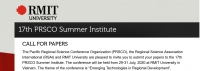 CALL FOR PAPERS | 17th PRSCO Summer Institute | 29-31 July, 2020, RMIT University, Vietnam