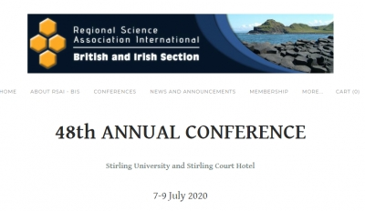CfP: RSAI – BIS 48th Annual Conference: Stirling 7-9th July 2020