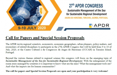 REMINDER | Call for Papers and Special Session Proposals | 27th APDR Congress | 9-10 July 2020, Angra do Heroísmo, Portugal